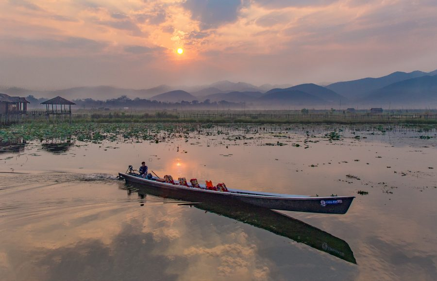 Sunset at Lake Inley Myanmar - Gary Cawood