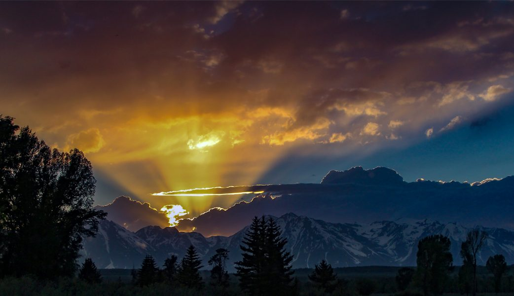 Sunset Over Teton Range WY - Mel Wright