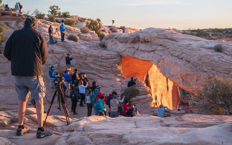 Photo Crowd at Mesa Arch Canyonlands NP - Pat Honeycutt