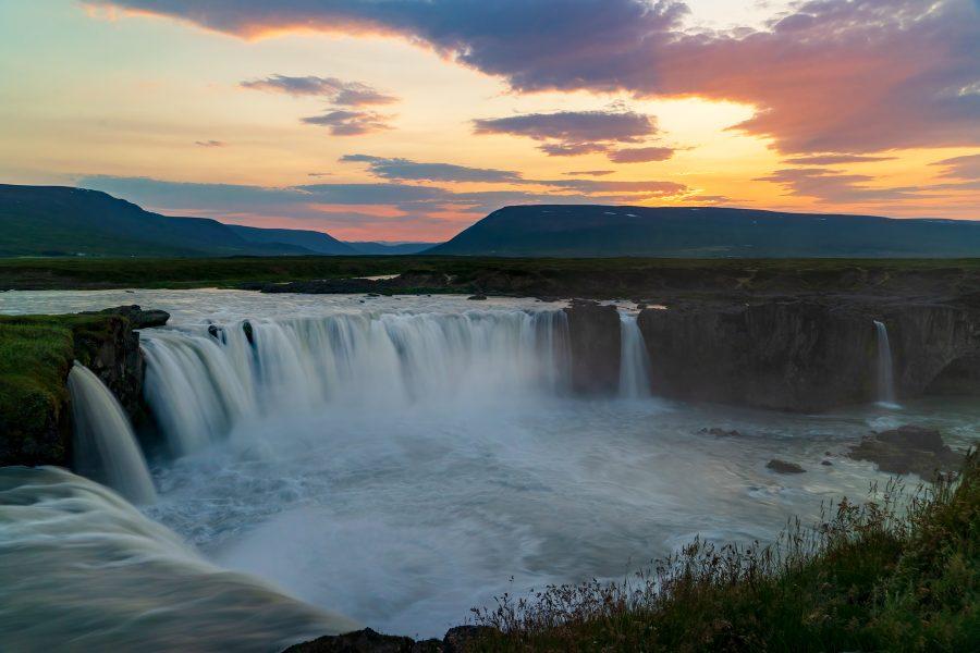 Sunset at 11PM Godafoss Iceland - Gert Van-Ommering