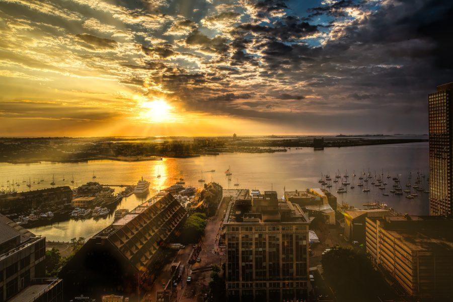 Sunrise Boston Harbor - Lucille van Omerring