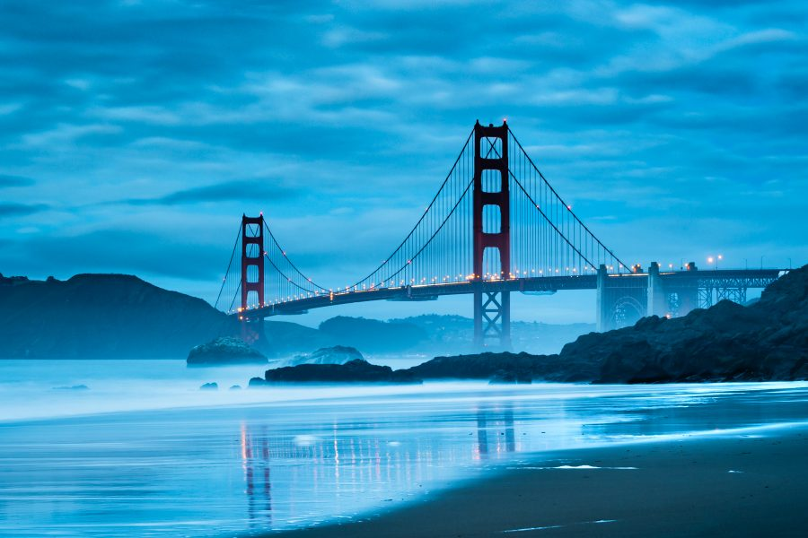 I went to Baker Beach hoping to catch the Golden Gate Bridge at sunset, but it was too cloudy. I was leaving but saw the amazing clouds and the lights of the bridge and had to take some shots.
