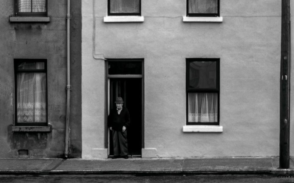 Lonely Old Irishman in Door in Limerick, Ireland, July 1997 - Gary Cawood
